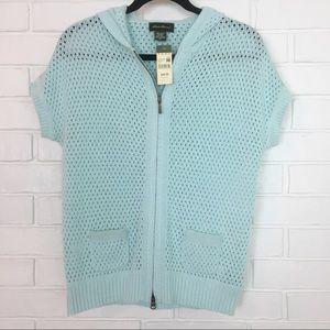 NWT Eddie Bauer Blue Short Sleeve Zip Up